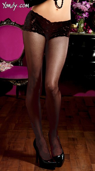 Fishnet Pantyhose With Built In Panty And Back Seam, Fish Net Pantyhose, Fishnet Stockings