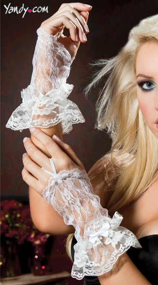 Wrist Length Fingerless Lace Gloves With Lace Trim
