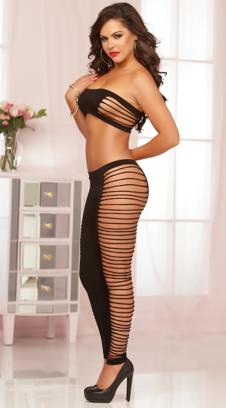 Seamless Slashed Bandeau and Legging Set