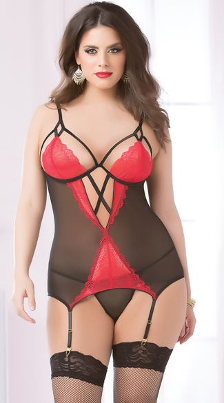Plus Size Black and Red Lace Cage Bustier Set, Plus Size Cage Bustier Set, Plus Size Red and Black Bustier