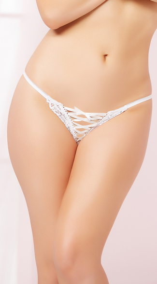 Lace-Up Floral Lace Thong