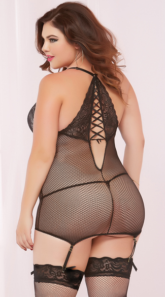 Plus Size Textured Mesh and Lace Chemise Set, Plus Size Black and Pink Chemise Set, Plus Size Lace Chemise Set