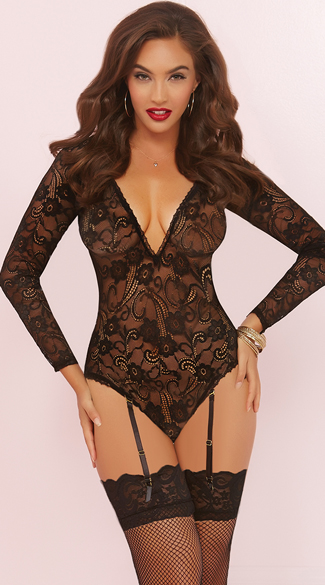 Floral Lace Long Sleeve Teddy, Sexy Teddy Lingerie, Lace Teddy
