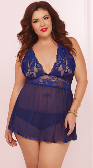 Plus Size Evening Romance Lace and Mesh Babydoll Set, Plus Size Mesh and Lace Babydoll, Plus Size Navy Blue Babydoll
