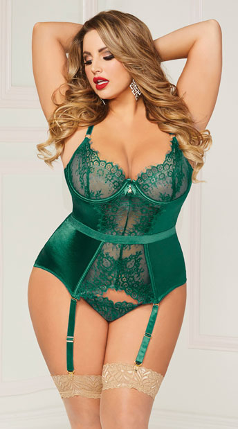 Plus Size Green Desires Bustier Set Plus Size Green Lace