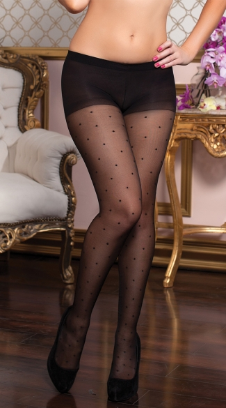 Polka Dot Sheer Pantyhose, Polka Dot Hosiery, Polka Dot Tights