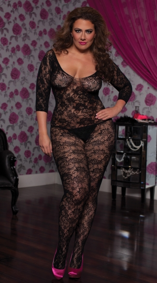 Plus Size Floral Lace Bodystocking, Lace Body Stocking, Sheer Body Stocking