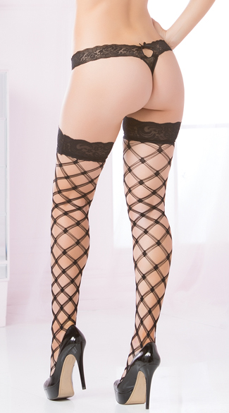 Multi Strapped Diamond Net Thigh Highs