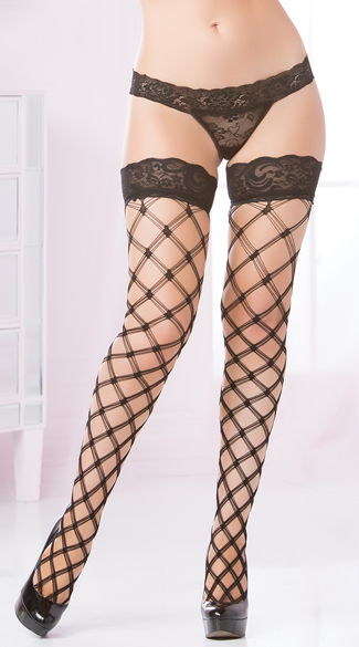 Multi Strapped Diamond Net Thigh Highs, Diamond Net Thigh Highs, Large Netted Thigh Highs