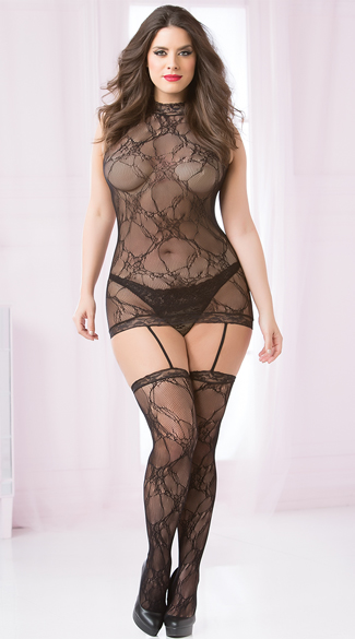 Plus Size High Neck Lace Dress Bodystocking