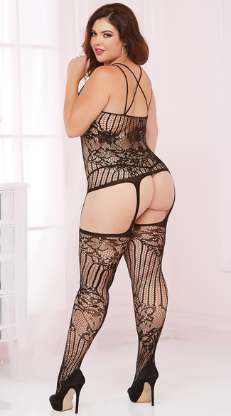 Plus Size Sheer Lace and Fishnet Bodystocking