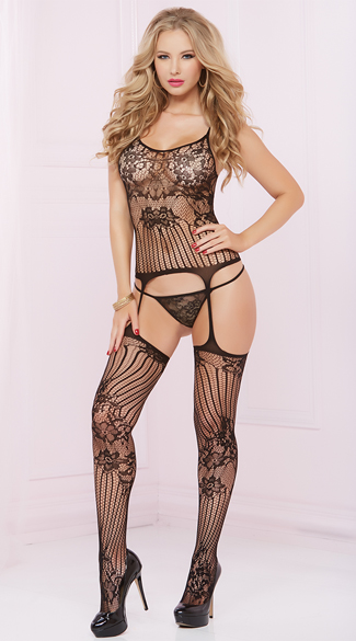 Sheer Lace and Fishnet Bodystocking