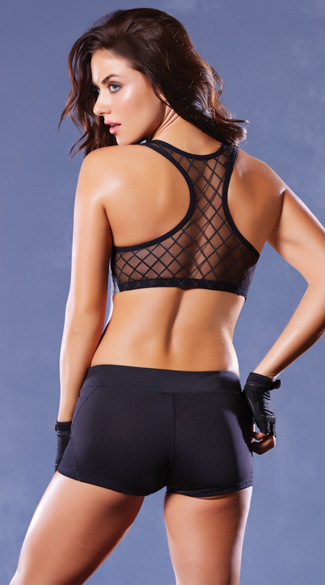 Push-Up Fence Mesh Sports Bra, Sheer Sports Bra, Mesh Sports Bra