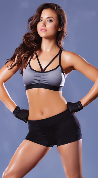 Multi-Strapped Microfiber Sports Bra, Strappy Sports Bra, Contrast Colored Sports Bra