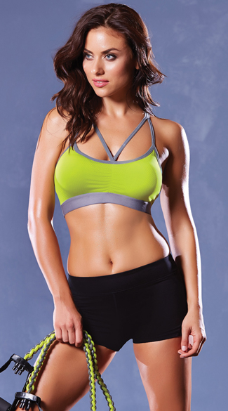 Multi-Strapped Microfiber Sports Bra