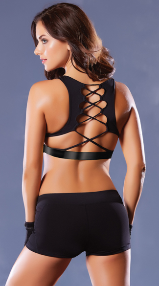 Lace-Up Microfiber Sports Bra, Corset Sports Bra, Lace-Up Sports Bra