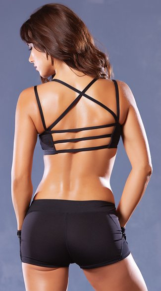 Strappy Black Sports Bra