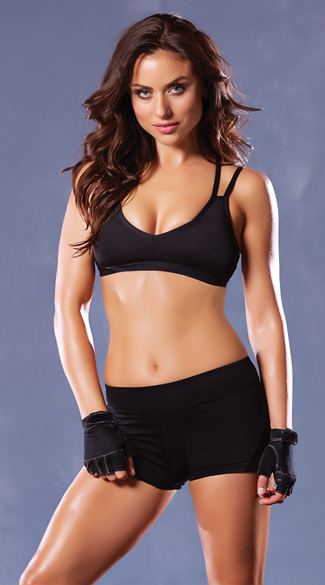 Strappy Black Sports Bra, Strappy Sports Bra, Black Sports Bra