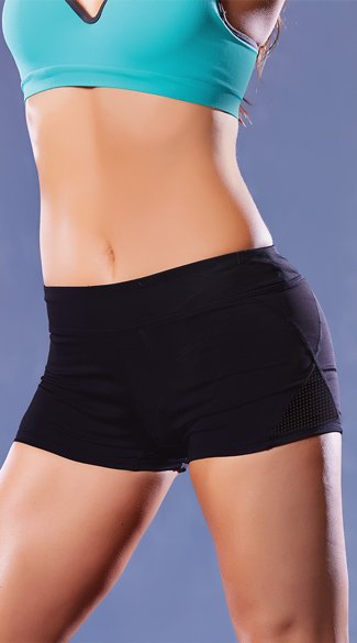 Microfiber and Mesh Shorts, Black Gym Shorts, Black Workout Shorts