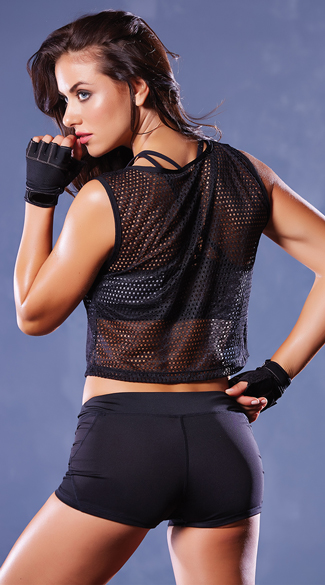 Athletic Fishnet Cropped Tank