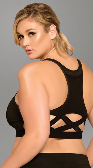 Plus Size Stow and Go Cage Sports Bra, Plus Size Cage Sports Bra, Plus Size Sports Bra with Pocket