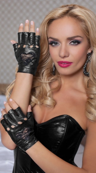 Biker Gloves with Lace Heart, Metallic Biker Gloves, Faux Leather Biker Gloves