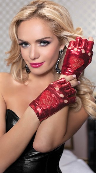 Biker Gloves with Lace Heart