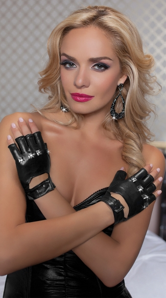 Biker Gloves with Knuckle Studs, Studded Biker Gloves, Black Motorcycle Gloves