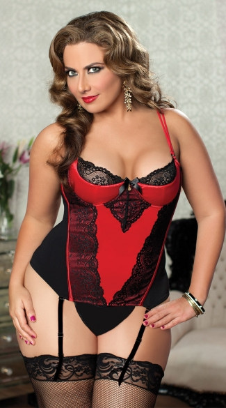Plus Size Lace and Stretch Satin Bustier