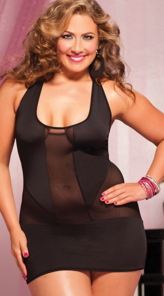 Plus Size Sexy Peekaboo Mesh Dress, Plus Size Mesh and Opaque Dress, Plus Size Racerback Dress, Little Black Dress