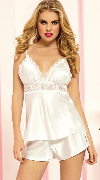 Satin and Lace Cami Short Set