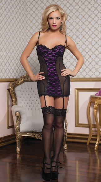 Mesh and Lace Chemise with Thong