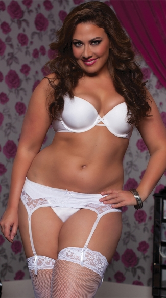 Plus Size Satin and Lace Garter Belt