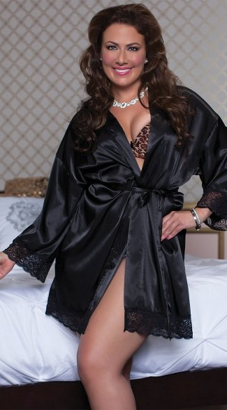 Plus Size Hidden Pockets Satin Robe
