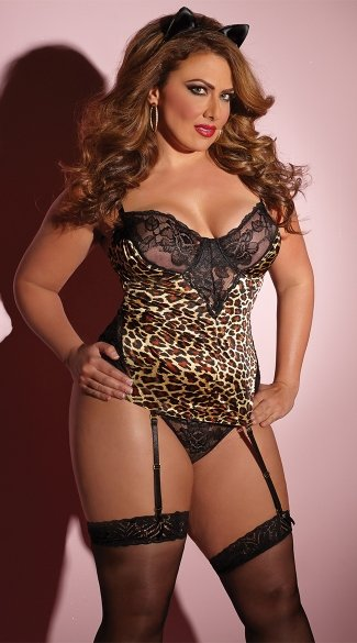 Plus Size Leopard Love Bustier Set