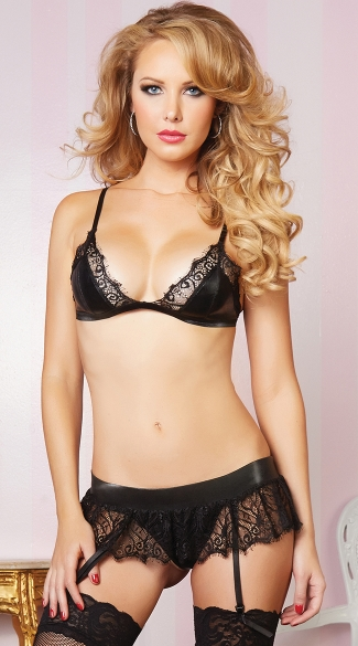 Leather and Lace Bra and Skirtini, Black Lace Lingerie Skirt and Bra