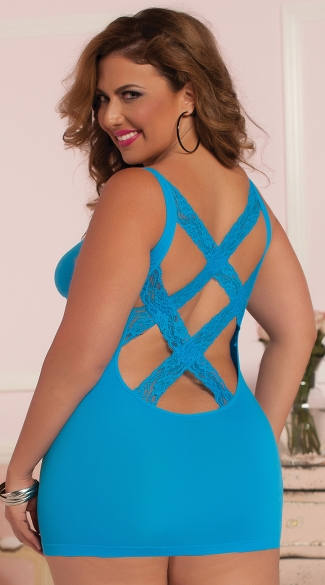 Plus Size Sexy Back Seamless Chemise