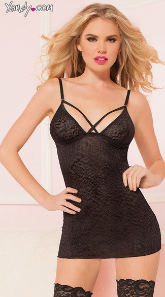 Wild Cat Fitted Chemise, Black Animal Print Chemise