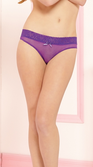 Open Crotch Keyhole Panty with Leopard Print Waistband