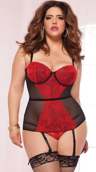 Plus Size Sweet Tease Bustier Set, Plus Size Matching Bra and Underwear Sets, Plus Size Lace Bustier