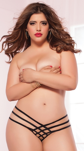 Plus Size Strap Me In Thong, Plus Size Black Strappy Thong, Plus Size Black Open Crotch Panty
