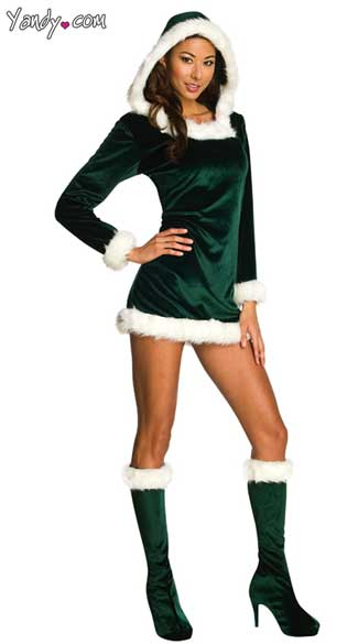 Sexy Green Helper Costume, Green Elf Dress, Green Velour Holiday Dress