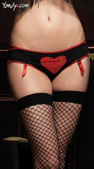 Scalloped Trimmed Lace Heart Panty