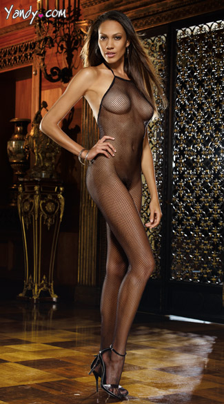 Seamless Fishnet Open Crotch Body Stocking