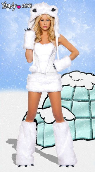 Exclusive Sexy Polar Bear Costume, Adult Polar Bear Costume, Polar Bear Halloween Costume, Polar Bear Gloves