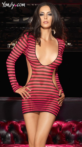 Striped Fishnet Cut Out Mini Dress