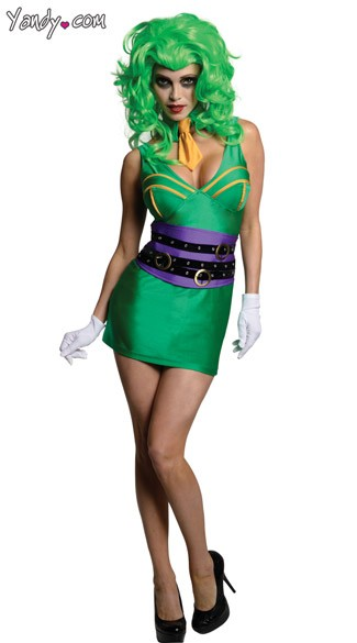 Sexy Joker Costume, Female Joker Halloween Costume, Sexy Super Villain Joker Costume,