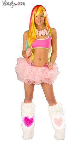 Pretty in Pink Crop Top and Tutu Set, Pink Tie Top and Tutu, Pink Rave Wear, Pink Rave Outfit