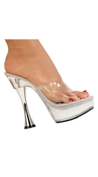 Clear Hourglass Stiletto Slide, 5.5 Inch Silver Cone Clear Sandal, Sexy Silver Cone Heel