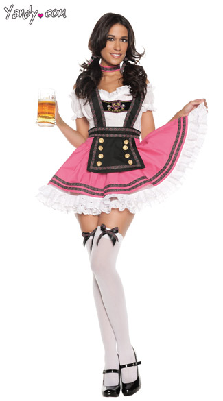 Fancy Beer Girl Costume, Pink Beer Girl costume, German Beer Girl Halloween Costume